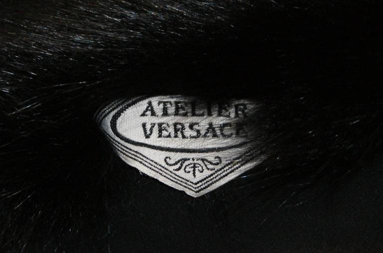 Women's 1998 Atelier Versace Black Silk & Fur Wrap Shawl Scarf For Sale
