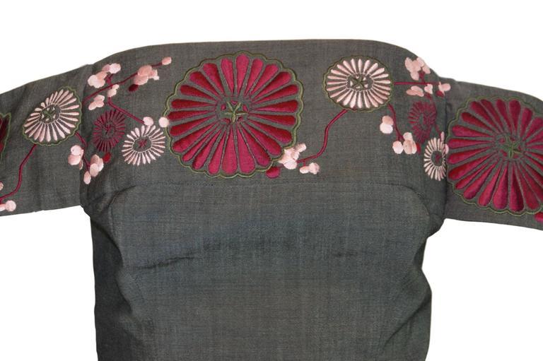 S/S 2001 Voss Alexander McQueen Japanese Embroidered Bustier Crop Top 2