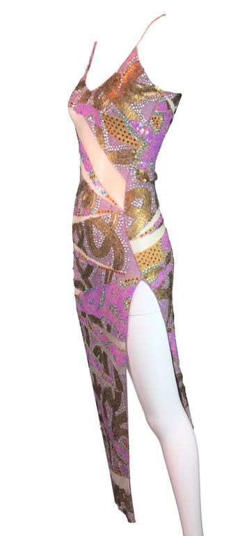 Women's S/S 2001 Julien MacDonald Runway Sheer Mesh Beaded Sequin Gown Dress For Sale