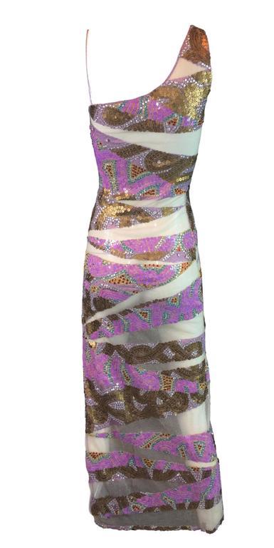 S/S 2001 Julien MacDonald Runway Sheer Mesh Beaded Sequin Gown Dress For Sale 1