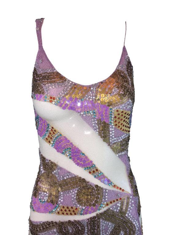 Gray S/S 2001 Julien MacDonald Runway Sheer Mesh Beaded Sequin Gown Dress For Sale