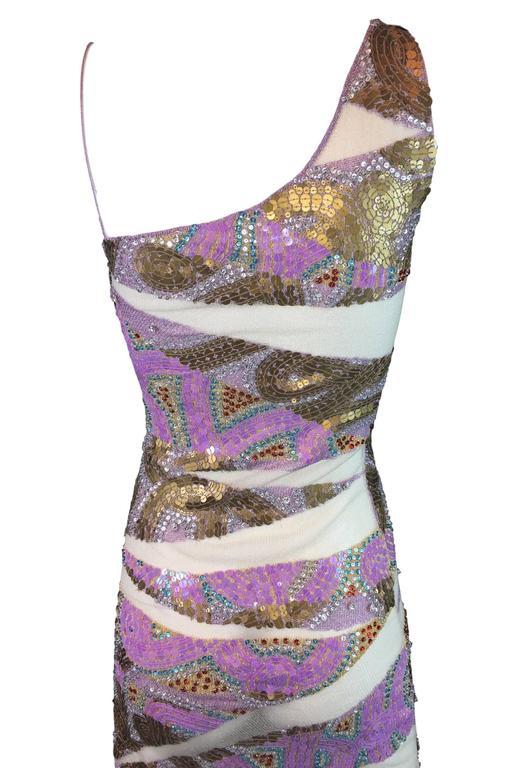 S/S 2001 Julien MacDonald Runway Sheer Mesh Beaded Sequin Gown Dress For Sale 2