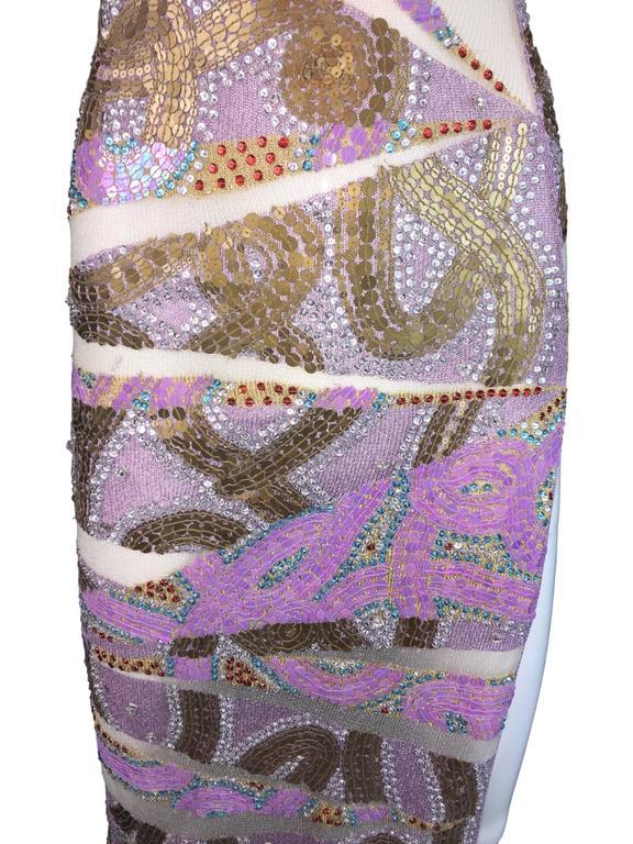 S/S 2001 Julien MacDonald Runway Sheer Mesh Beaded Sequin Gown Dress In Excellent Condition For Sale In Yukon, OK