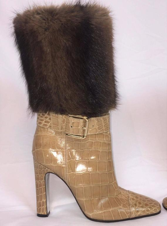 Dolce And Gabbana Camel Alligator And Mink Fur Buckle