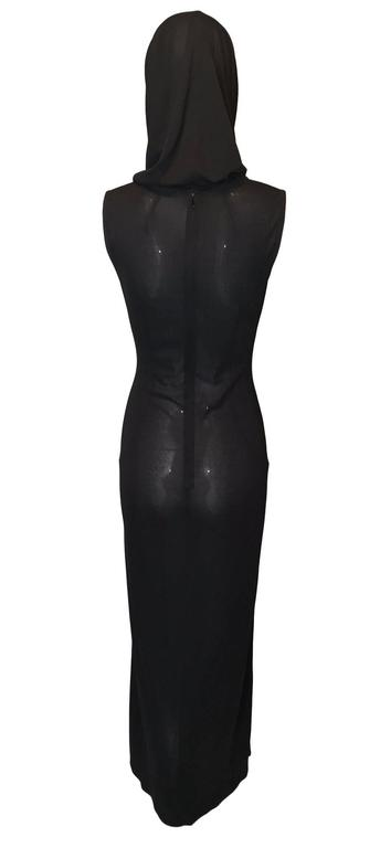S/S 1996 Dolce & Gabbana Runway Black Sheer Hooded Dress In Excellent Condition For Sale In Yukon, OK