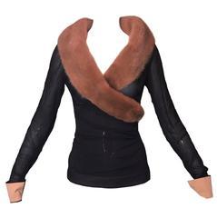 S/S 1998 Dolce & Gabbana Black Sheer Silk Wrap Sable Fur Jacket