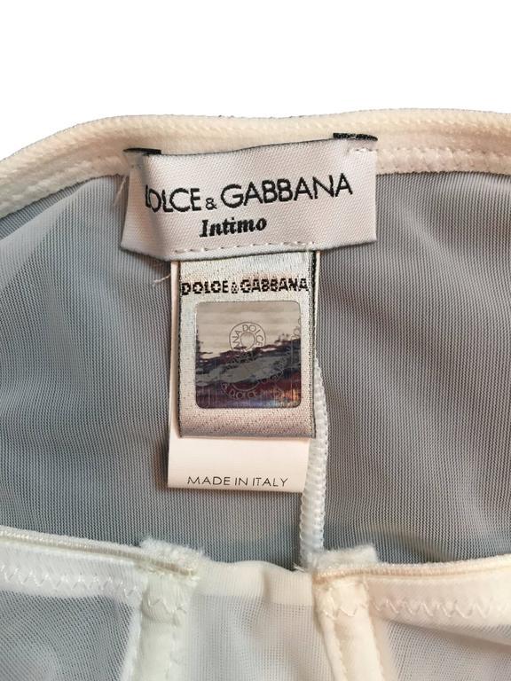 Gray 1990's Dolce & Gabbana Unworn Sheer White Underwire Bra Bodysuit Top For Sale
