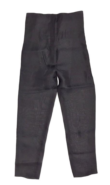 F/W 1995 Dolce & Gabbana Sheer Black Silk High Waisted Pin-Up Pants Large In Excellent Condition For Sale In Yukon, OK
