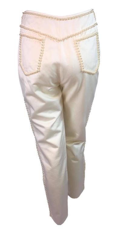 Beige S/S 1992 Dolce & Gabbana Runway Pin-up Pearl Ivory Cigarette Capri Pants For Sale