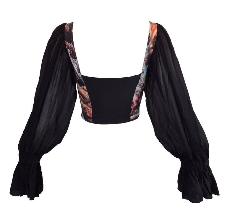 S/S 1993 Dolce & Gabbana Goddess Venus Corset Bustier Silk L/S Blouse Top  2