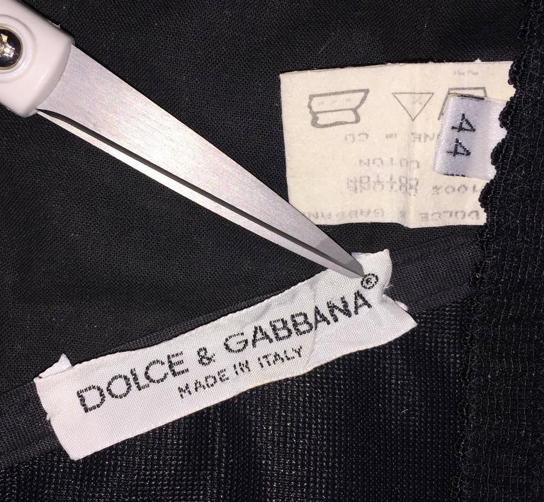 Black S/S 1993 Dolce & Gabbana Goddess Venus Corset Bustier Silk L/S Blouse Top  For Sale