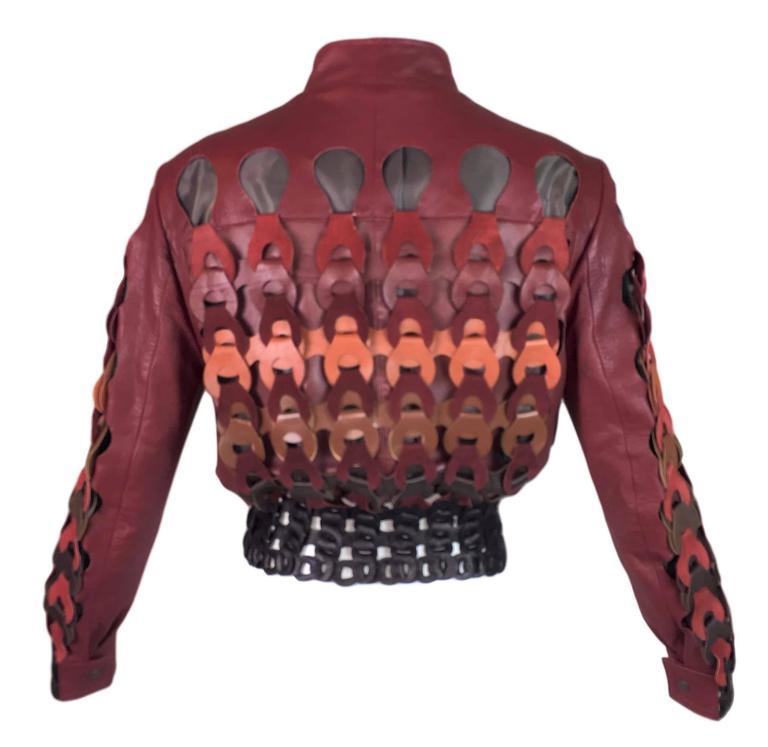 Black F/W 2007 Maison Martin Margiela Artisanal Woven Leather Bomber Jacket 2 For Sale