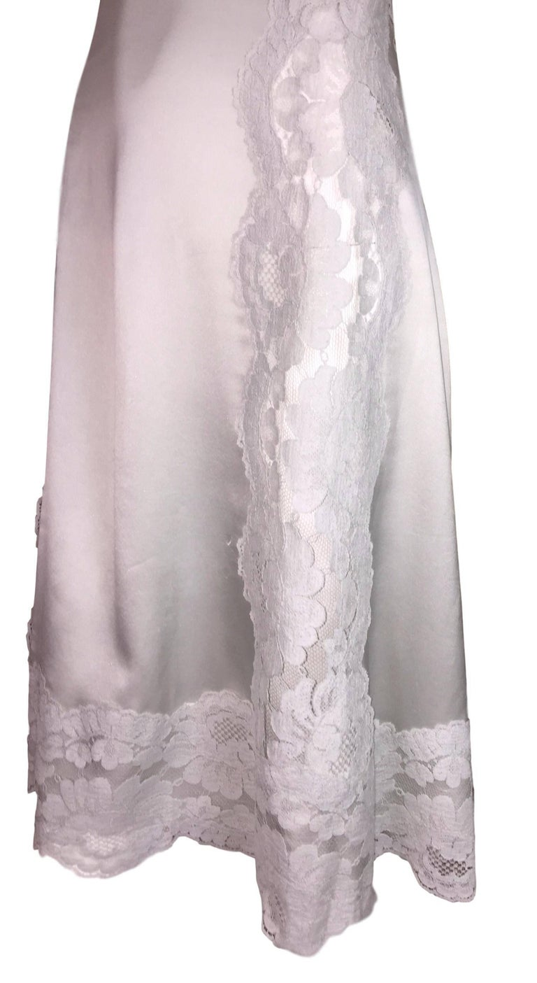 Gray F/W 2015 Dolce & Gabbana Haute Couture Alta Moda OOAK Sheer Lace Slip Dress For Sale