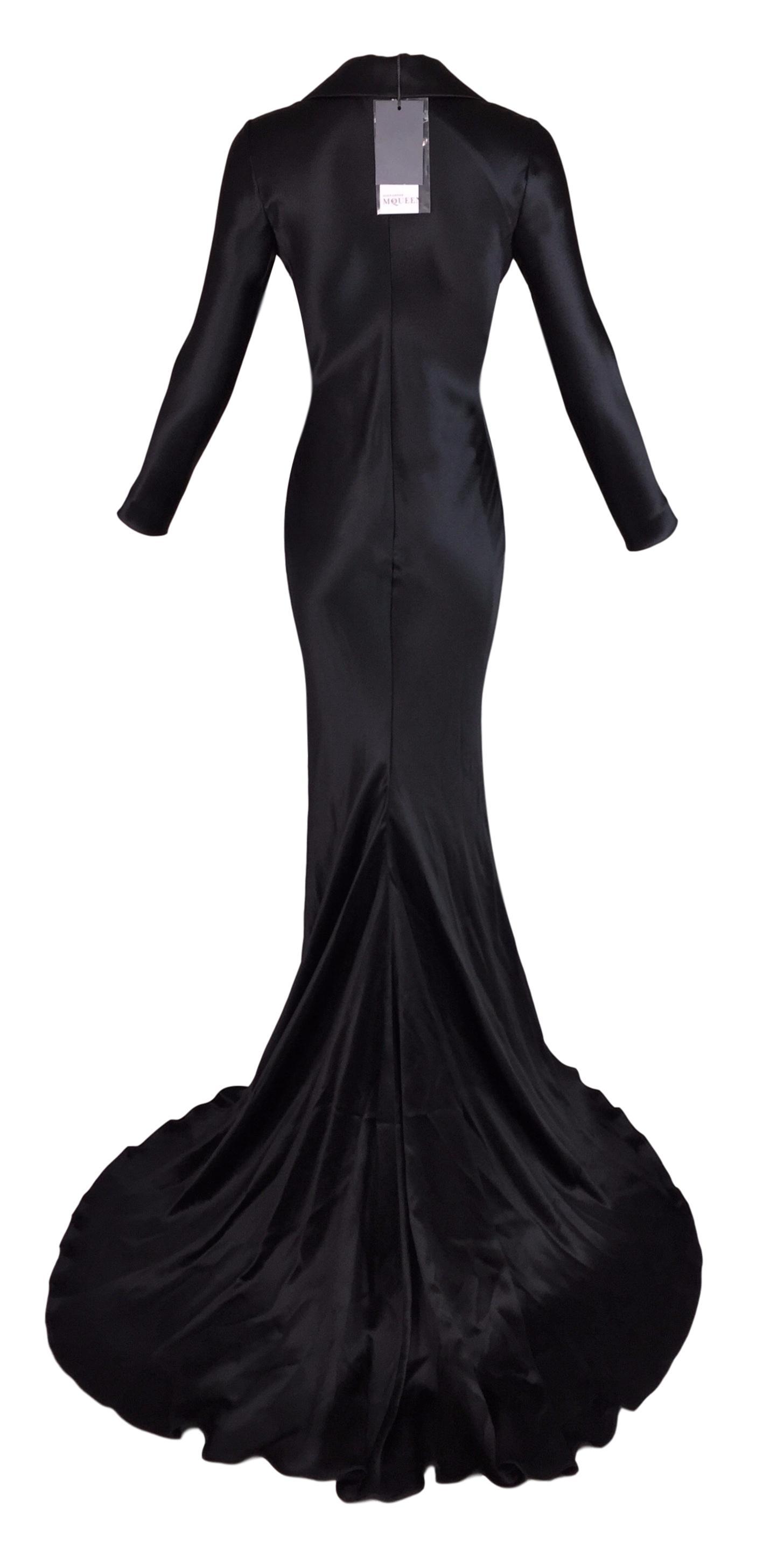 S/S 2007 Alexander McQueen Beaded Plunging Black Tuxedo Gown Dress ...