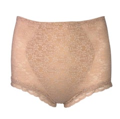 1980's Christian Dior Nude Sheer Mesh Lace Pin-Up High Waist Panties