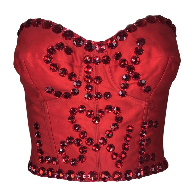 S/S 1992 Dolce & Gabbana Runway SEX & LOVE Red Crystal Corset Bustier Crop Top