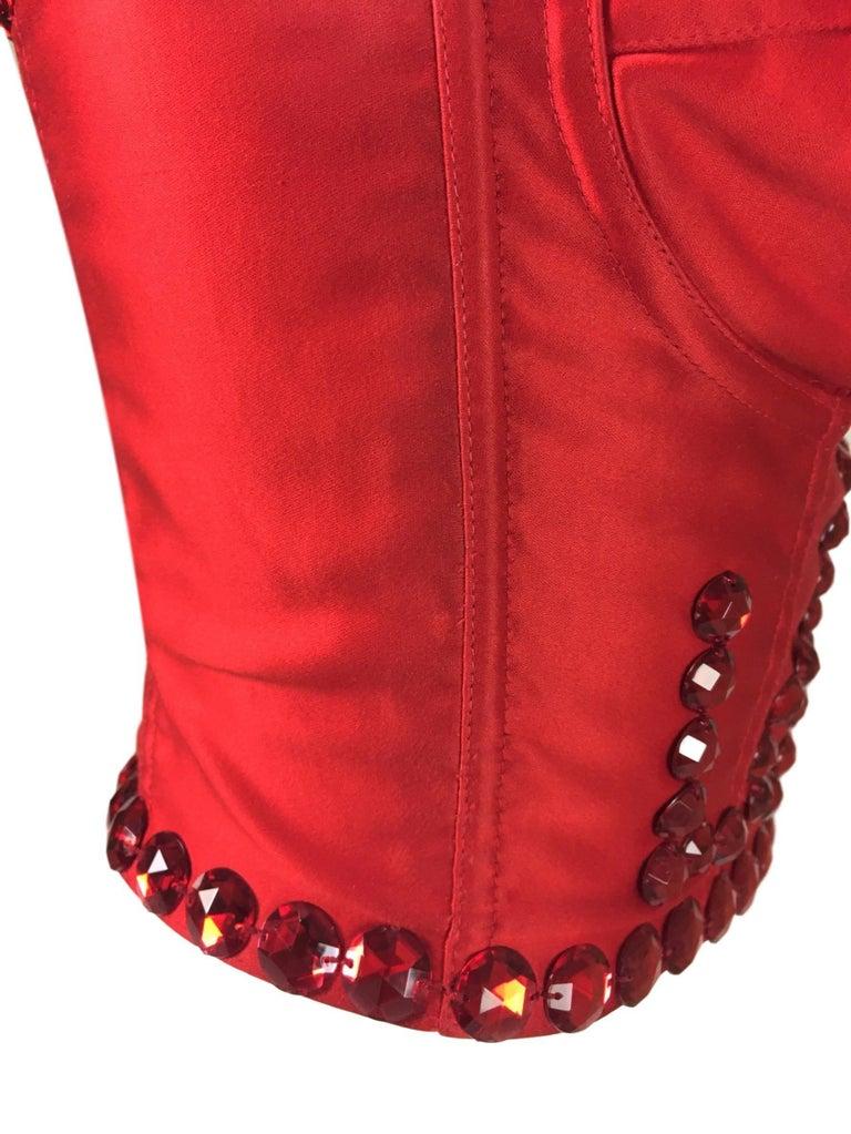 1586d618ae6a33 Women's S/S 1992 Dolce & Gabbana Runway SEX & LOVE Red Crystal Corset  Bustier
