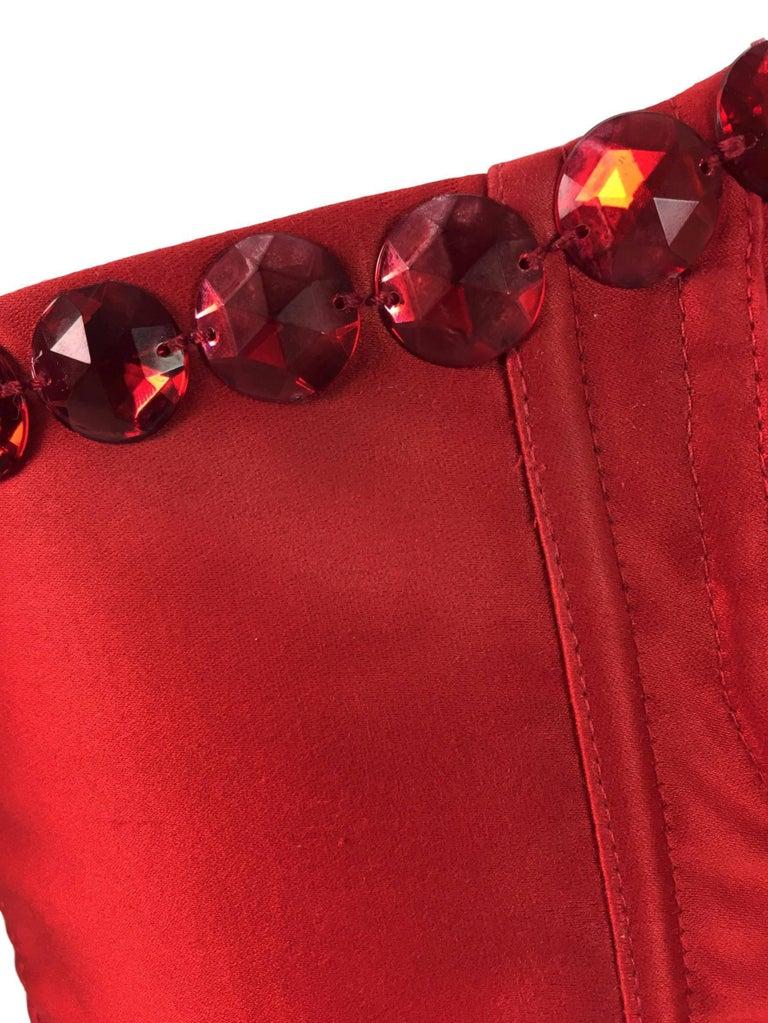 d406701d809312 S/S 1992 Dolce & Gabbana Runway SEX & LOVE Red Crystal Corset Bustier Crop