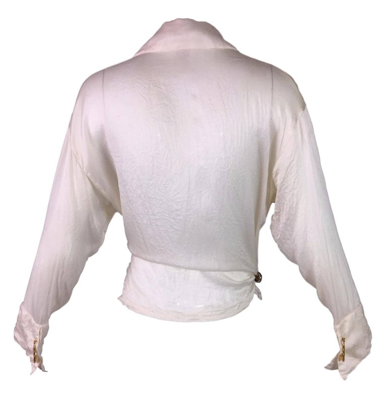 S/S 1994 Gianni Versace Sheer Ivory Silk Tie Front Safety Pin Blouse Top 2