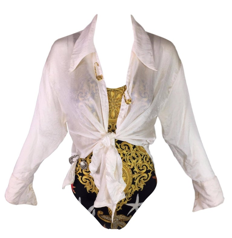 S/S 1994 Gianni Versace Sheer Ivory Silk Tie Front Safety Pin Blouse Top 3