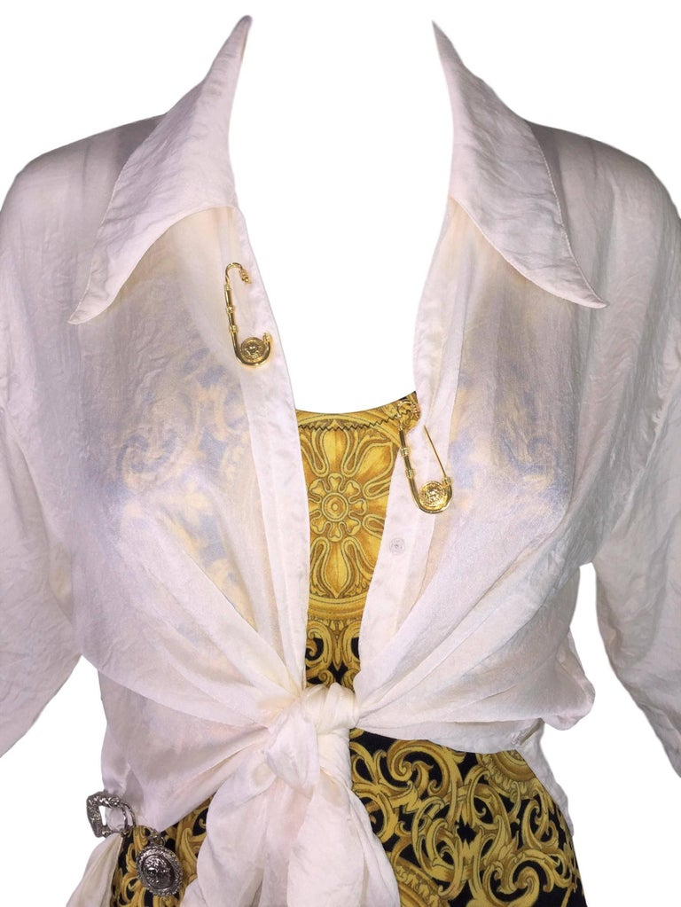 S/S 1994 Gianni Versace Sheer Ivory Silk Tie Front Safety Pin Blouse Top 4