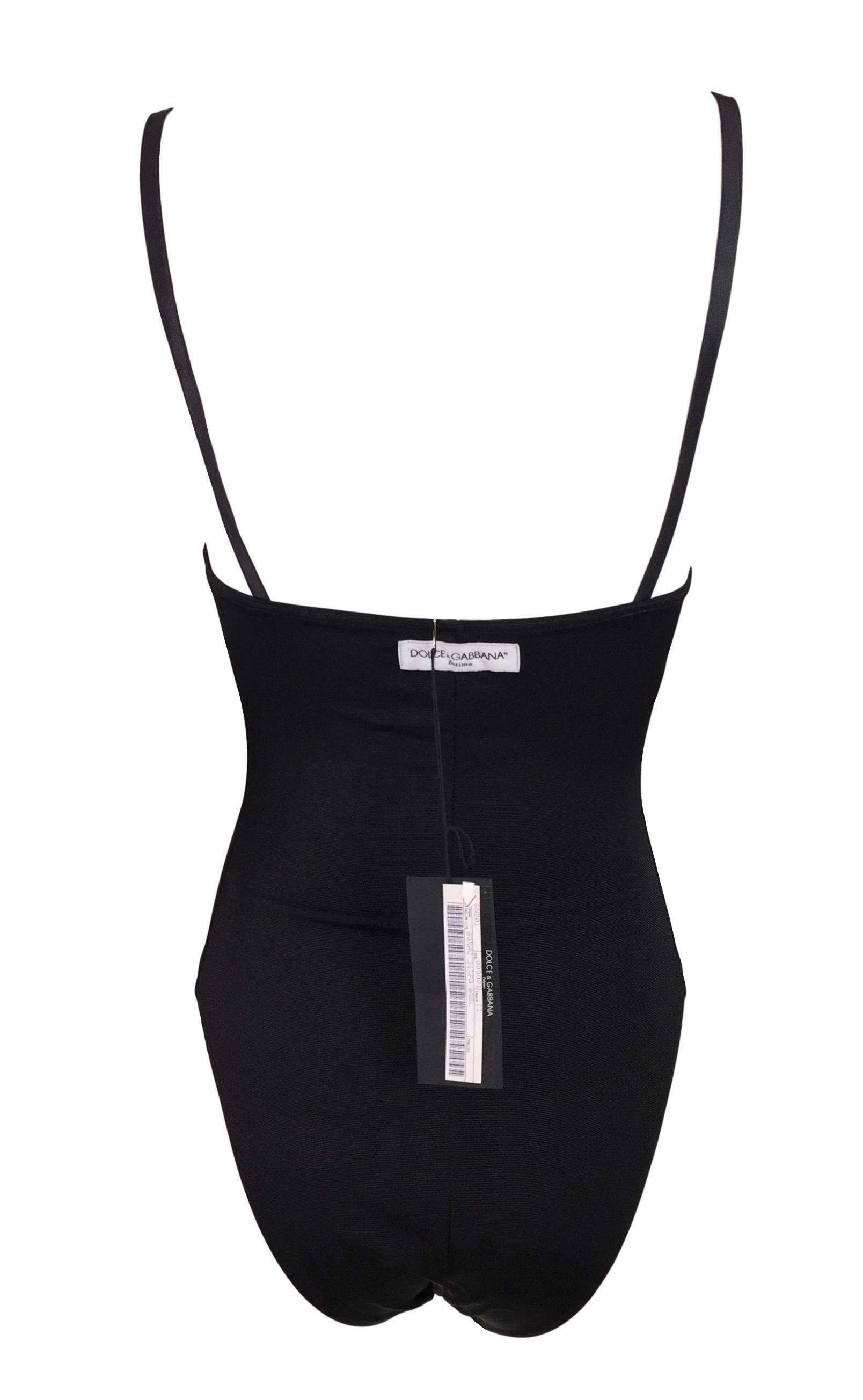 30507602a9 NWT 1990 s Dolce and Gabbana Black Corset Bodysuit Top at 1stdibs