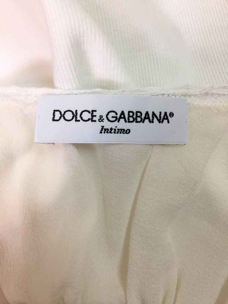 1990's Dolce & Gabbana Sheer Ivory & White Silk Bodysuit Top In Good Condition For Sale In Yukon, OK