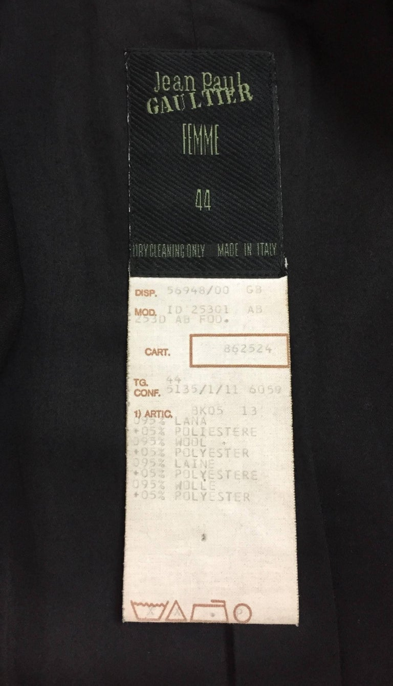 F/W 1992 Jean Paul Gaultier Black Coat Dress Jacket w/ Large Butt Pockets For Sale 2