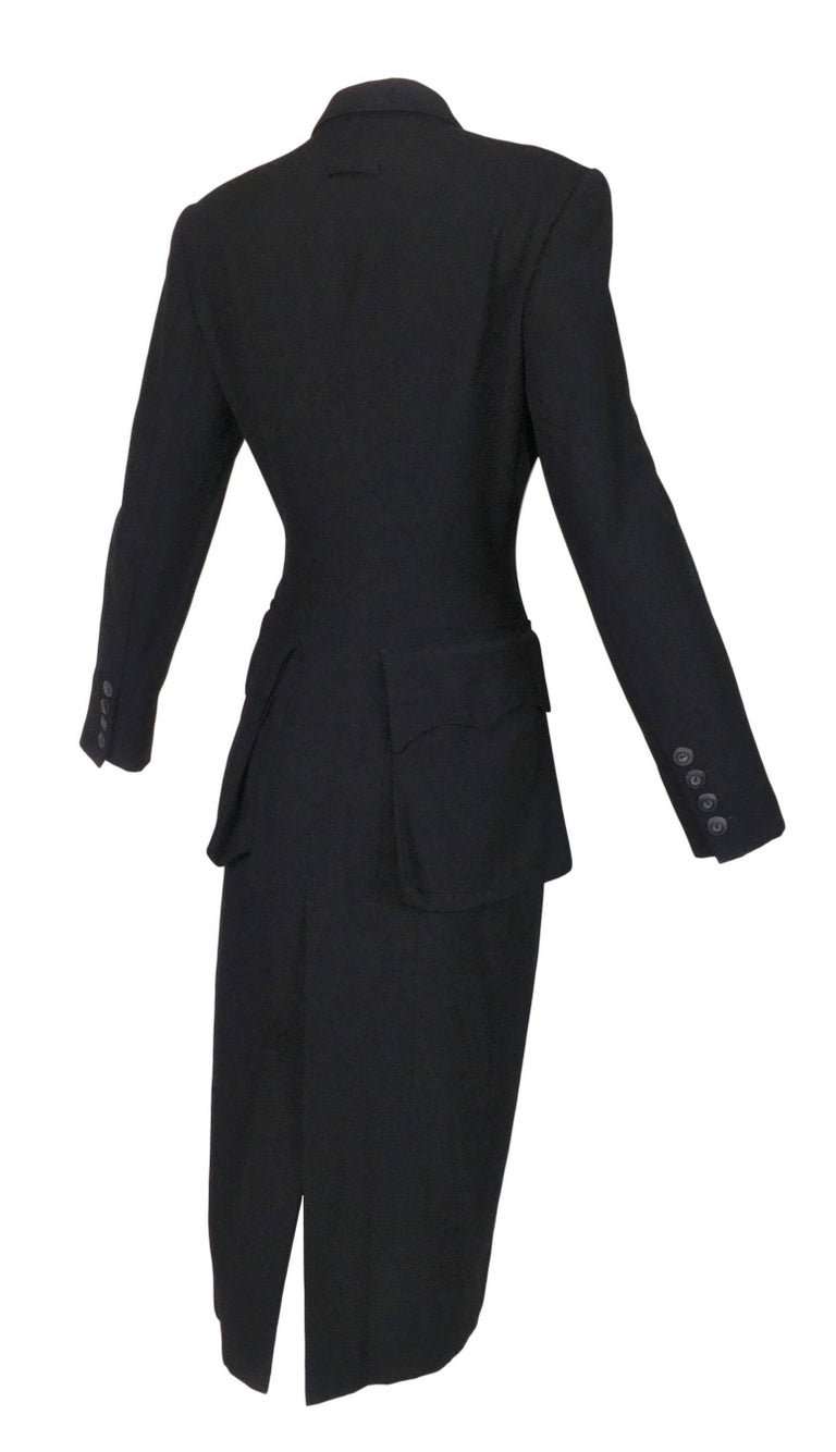 F/W 1992 Jean Paul Gaultier Black Coat Dress Jacket w/ Large Butt Pockets For Sale 1
