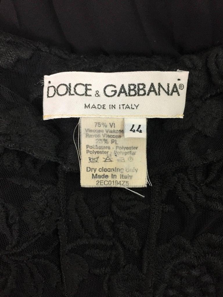 Dolce & Gabbana Sheer Black High Waist Pin-Up Mesh Long Pleated Pants, 1993  For Sale 1