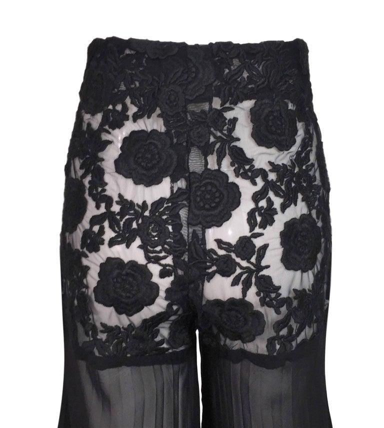 Women's Dolce & Gabbana Sheer Black High Waist Pin-Up Mesh Long Pleated Pants, 1993  For Sale