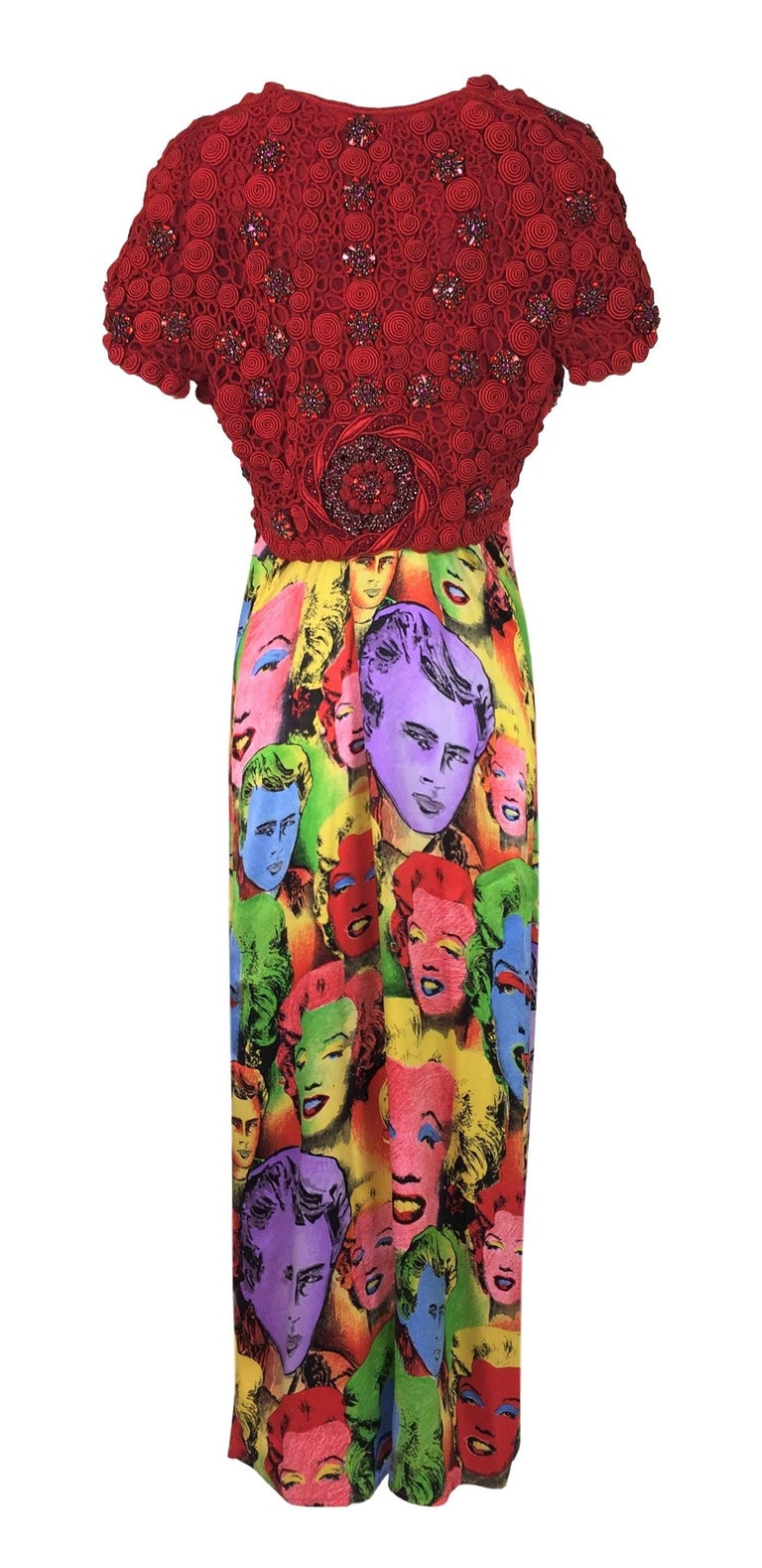fec848e433 Gianni Versace Marilyn Monroe Andy Warhol Plunging Silk Slip Dress, S / S  1991