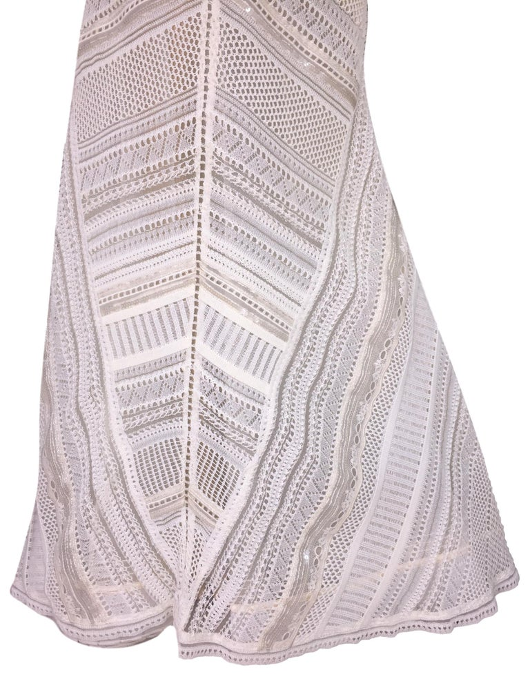 Gray Gianfranco Ferre Sheer Ivory Knit Embellished Bridal Mermaid Gown Dress S/S 1998 For Sale