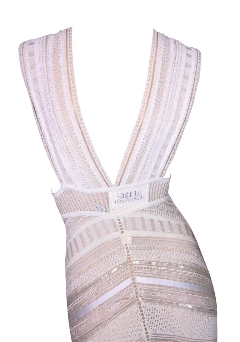 Women's Gianfranco Ferre Sheer Ivory Knit Embellished Bridal Mermaid Gown Dress S/S 1998 For Sale