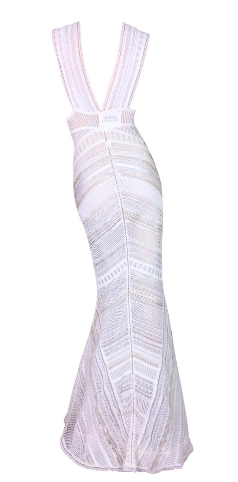 Gianfranco Ferre Sheer Ivory Knit Embellished Bridal Mermaid Gown Dress S/S 1998 In New Never_worn Condition For Sale In Yukon, OK