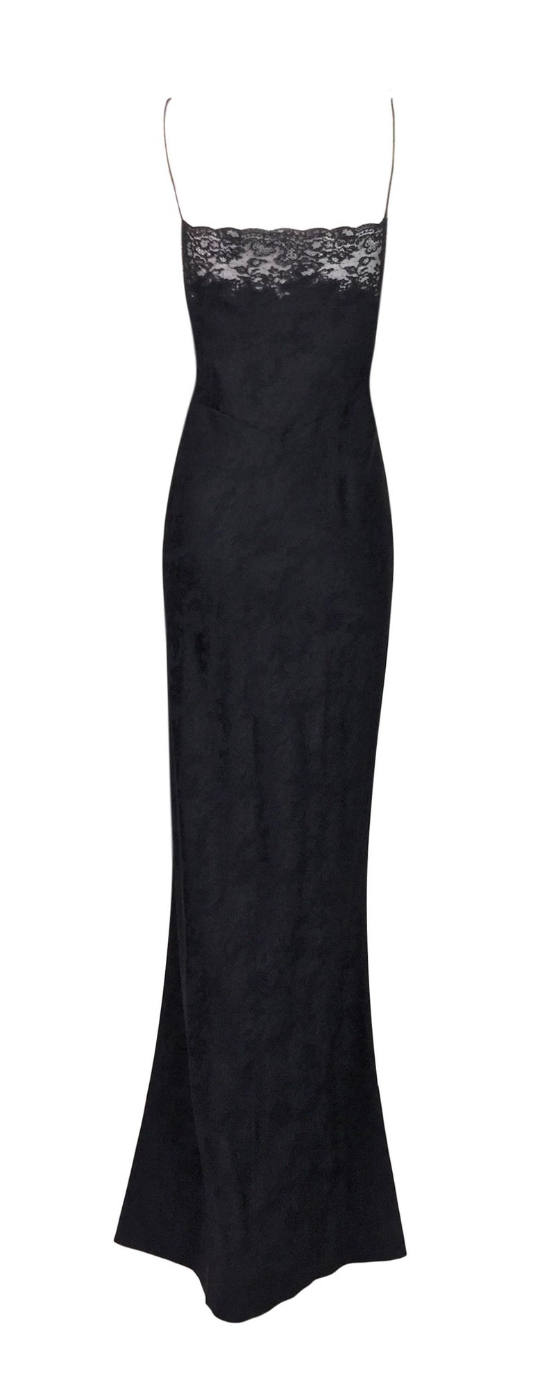 F/W 1998 Christian Dior John Galliano Sheer Lace Black Plunging Long Slip Dress In Excellent Condition For Sale In Yukon, OK