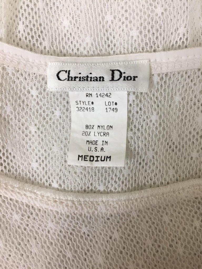Vintage 1980's Christian Dior Sheer White Fishnet Mesh Bodysuit Top In Good Condition For Sale In Yukon, OK