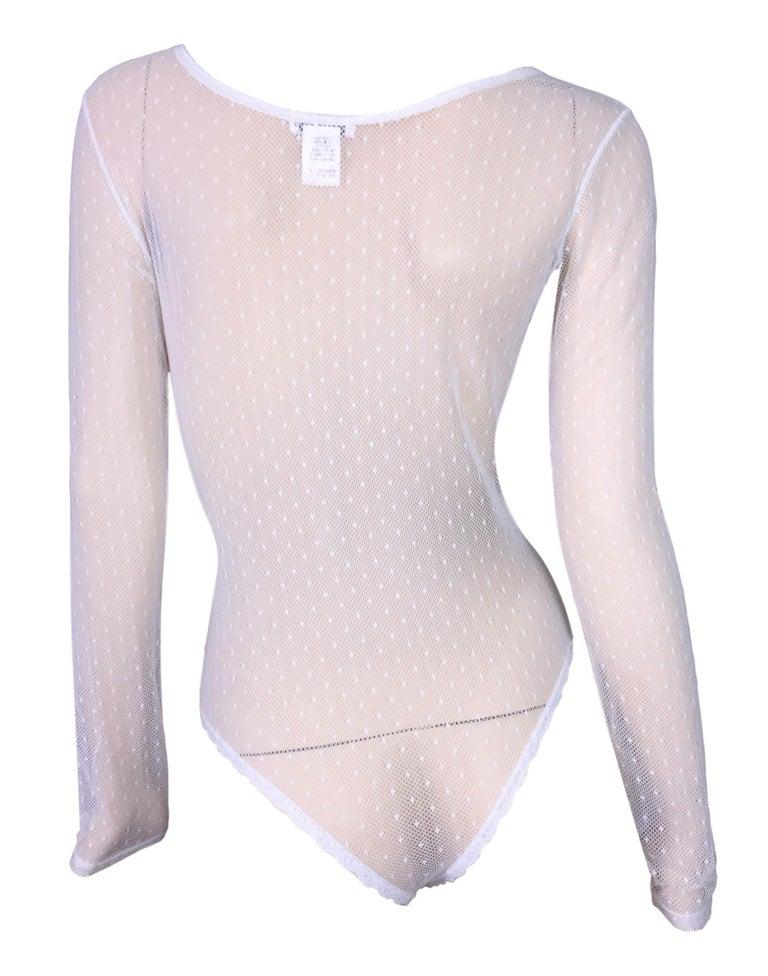 Gray Vintage 1980's Christian Dior Sheer White Fishnet Mesh Bodysuit Top For Sale
