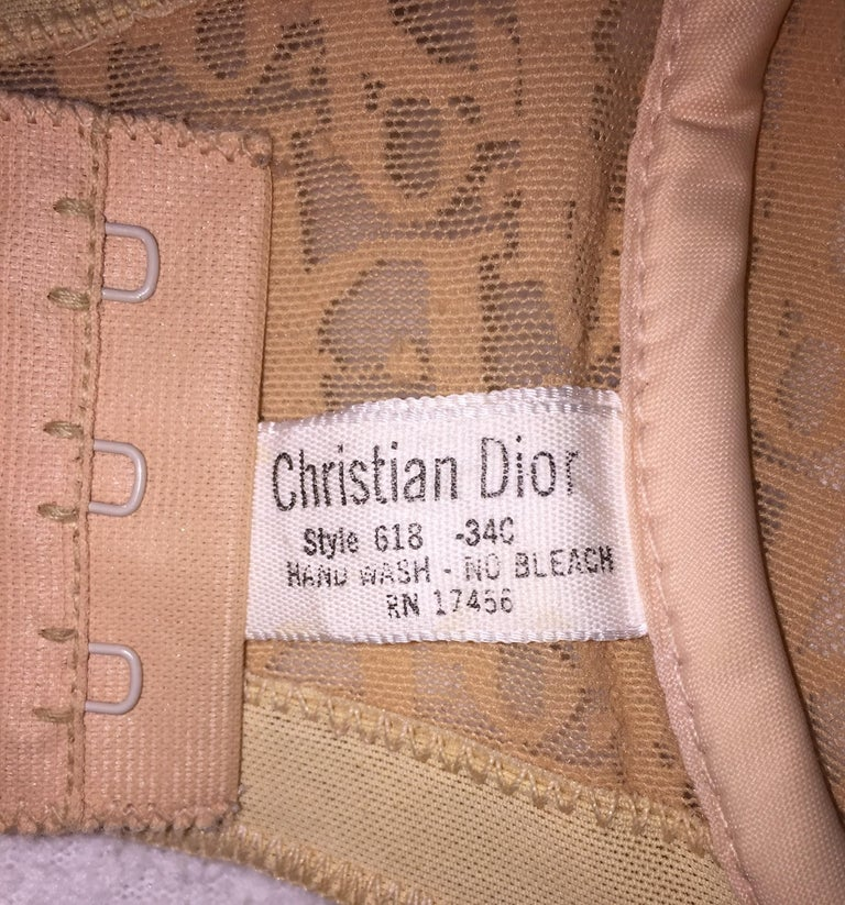 Brown 1990's Christian Dior Sheer Nude Mesh Monogram Strapless Underwire Bra C Cup For Sale