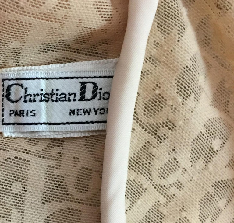 Brown 1990's Christian Dior Sheer Nude Mesh Lace Trim Monogram Bra D Cup For Sale