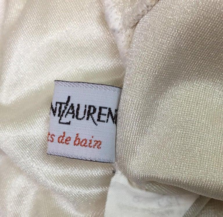Gray 1990's Yves Saint Laurent Ivory & Gold Plunging V Bodysuit Swimsuit For Sale