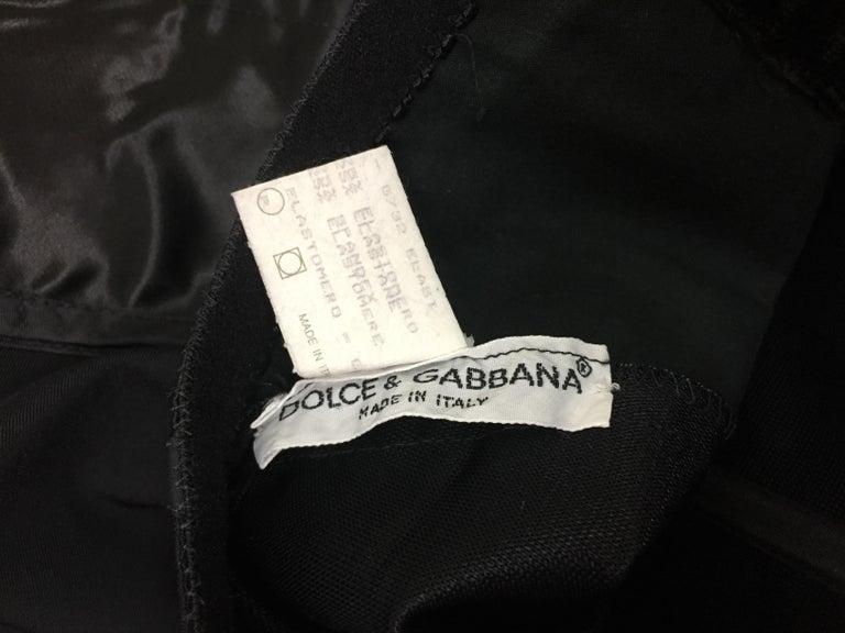 1992 Dolce & Gabbana Black Satin Corset Crop Top & High Waist Wiggle Skirt In Excellent Condition For Sale In Yukon, OK