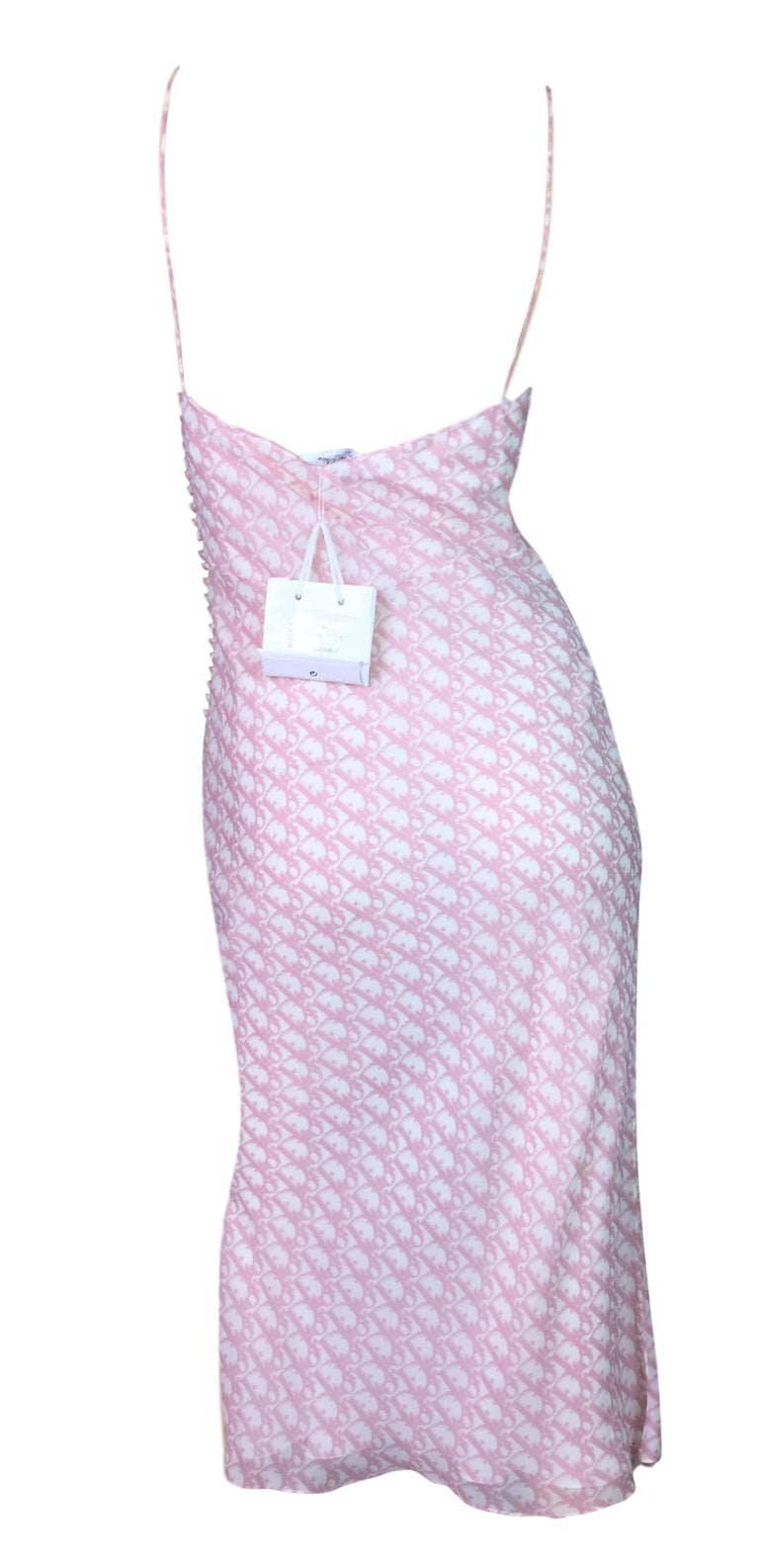 Gray NWT S/S 2004 Christian Dior John Galliano Pink Monogram Logo Silk Tie Dress