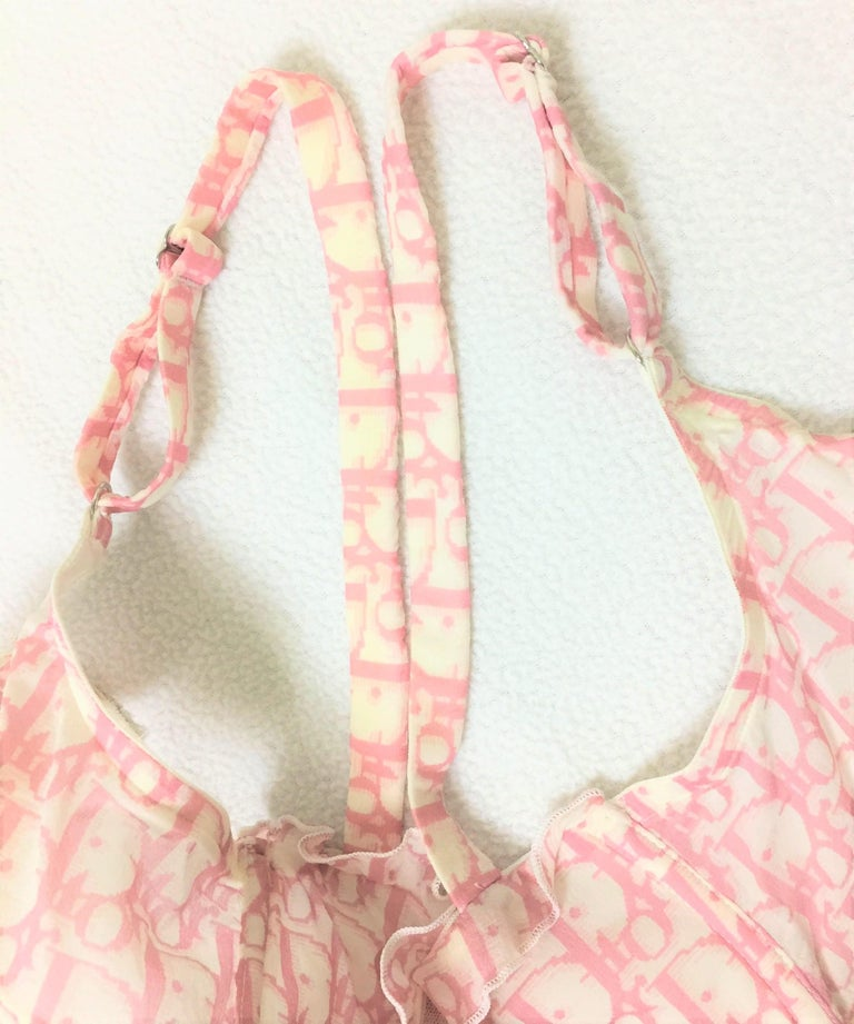 2000 Christian Dior Sheer Pink Monogram Logo Silk Ruffle Bra Top 32D For Sale 2