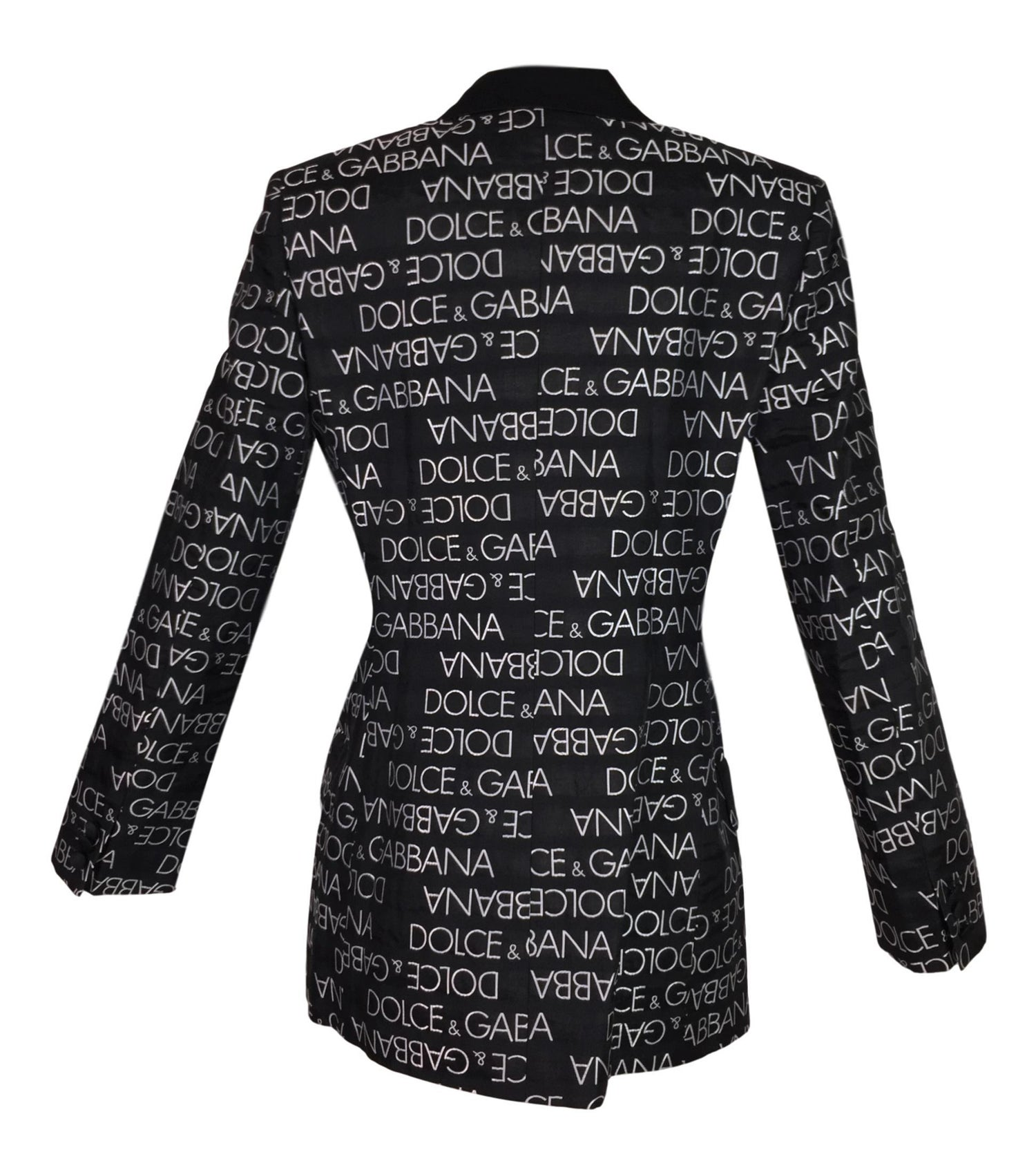 free shipping d438d a4514 S/S 1995 Dolce & Gabbana Black & White Monogram Logo Smoking Tux Jacket