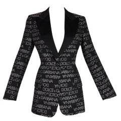 S/S 1995 Dolce & Gabbana Black & White Monogram Logo Smoking Tux Jacket
