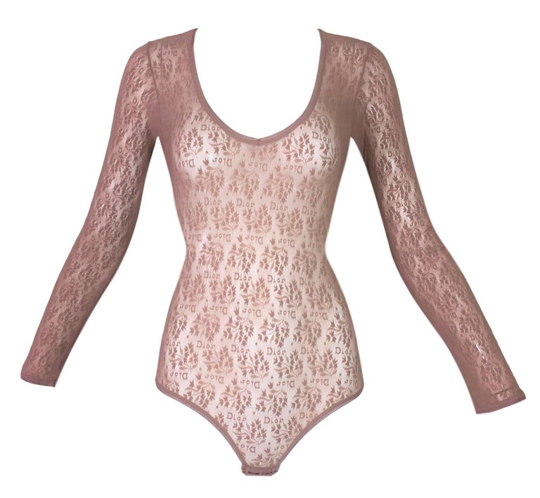 f561b6d9ce NWT 1990 s Christian Dior Nude Tan Mesh Monogram Logo Bodysuit Top M For  Sale at 1stdibs