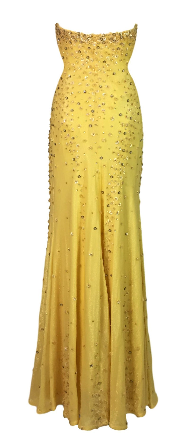 F W 1995 Documented Gianni Versace Couture Yellow Beaded