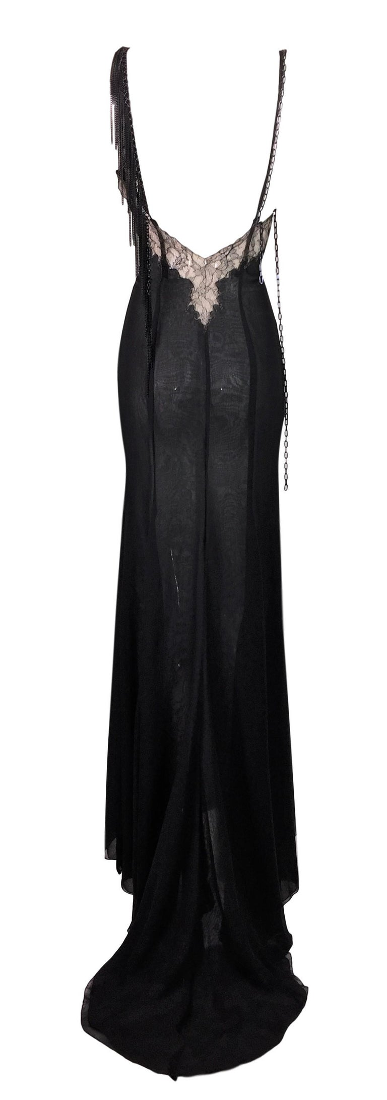 2004 Versace Black Sheer Plunging Chain Embellished Gown Dress w Train In Good Condition For Sale In Yukon, OK