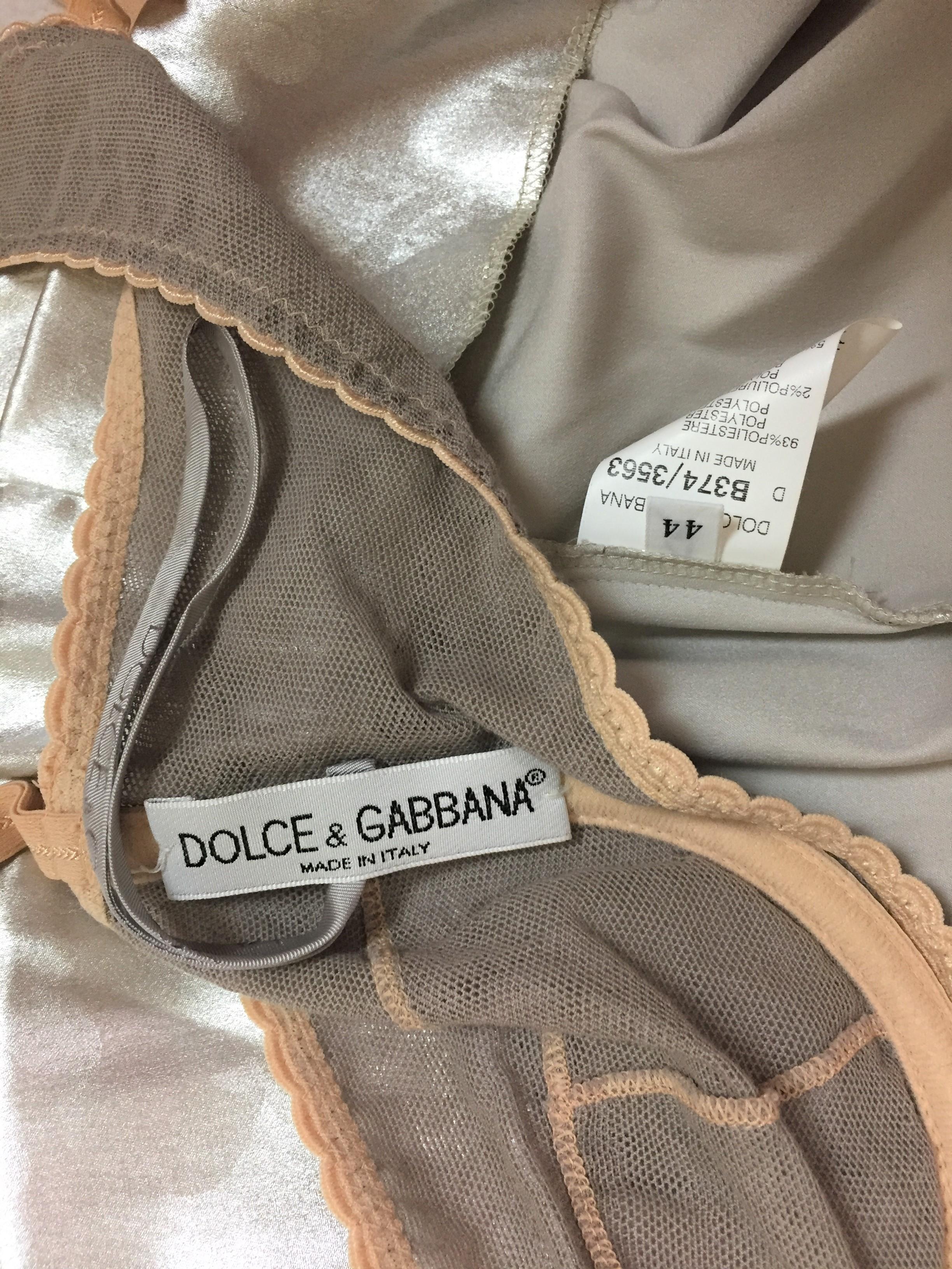 the719e f w 1998 dolce gabbana liquid silver long corset